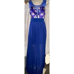 NWT Janice Blue Aladdin Short Sleeve Dress Size L
